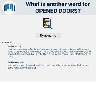 opened doors, synonym opened doors, another word for opened doors, words like opened doors, thesaurus opened doors