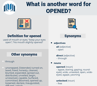 opened, synonym opened, another word for opened, words like opened, thesaurus opened
