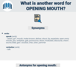 opening mouth, synonym opening mouth, another word for opening mouth, words like opening mouth, thesaurus opening mouth