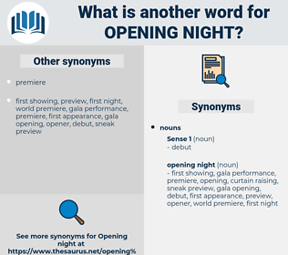 opening night, synonym opening night, another word for opening night, words like opening night, thesaurus opening night