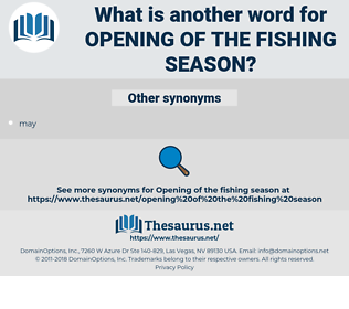 opening of the fishing season, synonym opening of the fishing season, another word for opening of the fishing season, words like opening of the fishing season, thesaurus opening of the fishing season