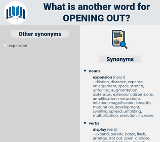 opening out, synonym opening out, another word for opening out, words like opening out, thesaurus opening out