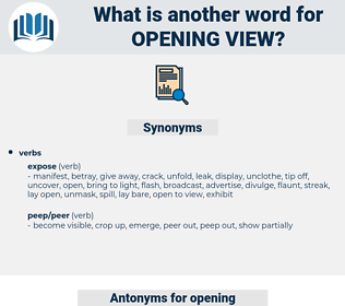opening view, synonym opening view, another word for opening view, words like opening view, thesaurus opening view