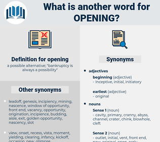 opening, synonym opening, another word for opening, words like opening, thesaurus opening