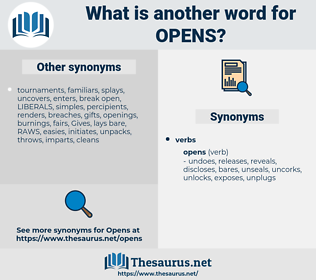 opens, synonym opens, another word for opens, words like opens, thesaurus opens