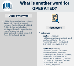 Operated, synonym Operated, another word for Operated, words like Operated, thesaurus Operated