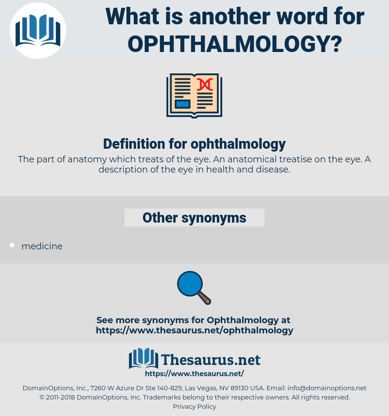 ophthalmology, synonym ophthalmology, another word for ophthalmology, words like ophthalmology, thesaurus ophthalmology