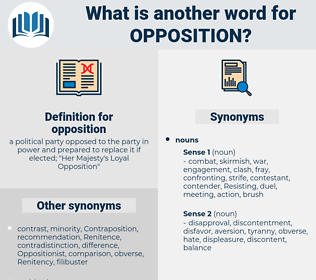 opposition, synonym opposition, another word for opposition, words like opposition, thesaurus opposition