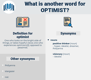 optimist, synonym optimist, another word for optimist, words like optimist, thesaurus optimist