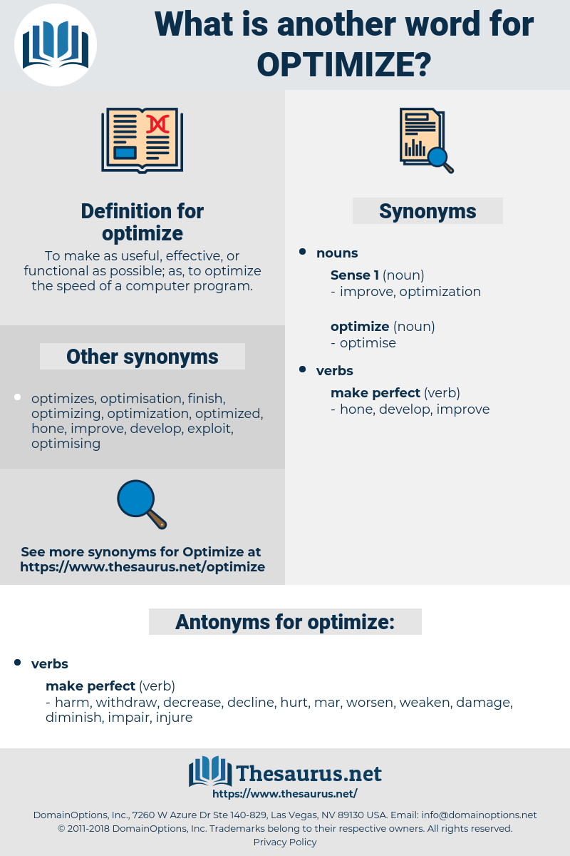 optimize, synonym optimize, another word for optimize, words like optimize, thesaurus optimize