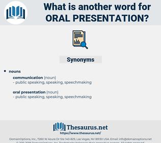 oral presentation, synonym oral presentation, another word for oral presentation, words like oral presentation, thesaurus oral presentation