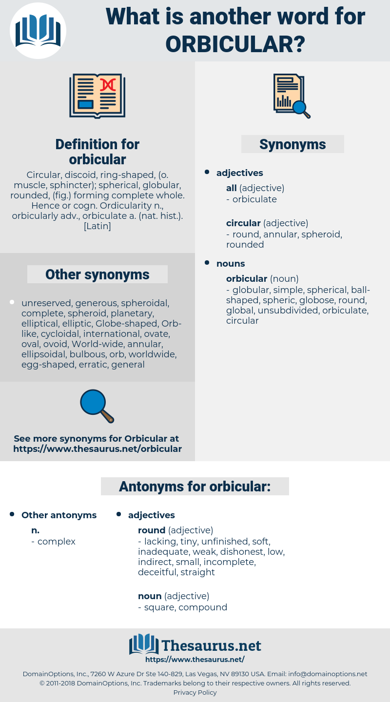 orbicular, synonym orbicular, another word for orbicular, words like orbicular, thesaurus orbicular