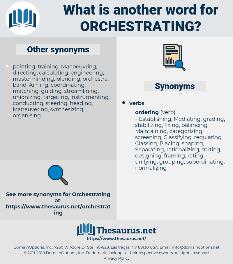 orchestrating, synonym orchestrating, another word for orchestrating, words like orchestrating, thesaurus orchestrating