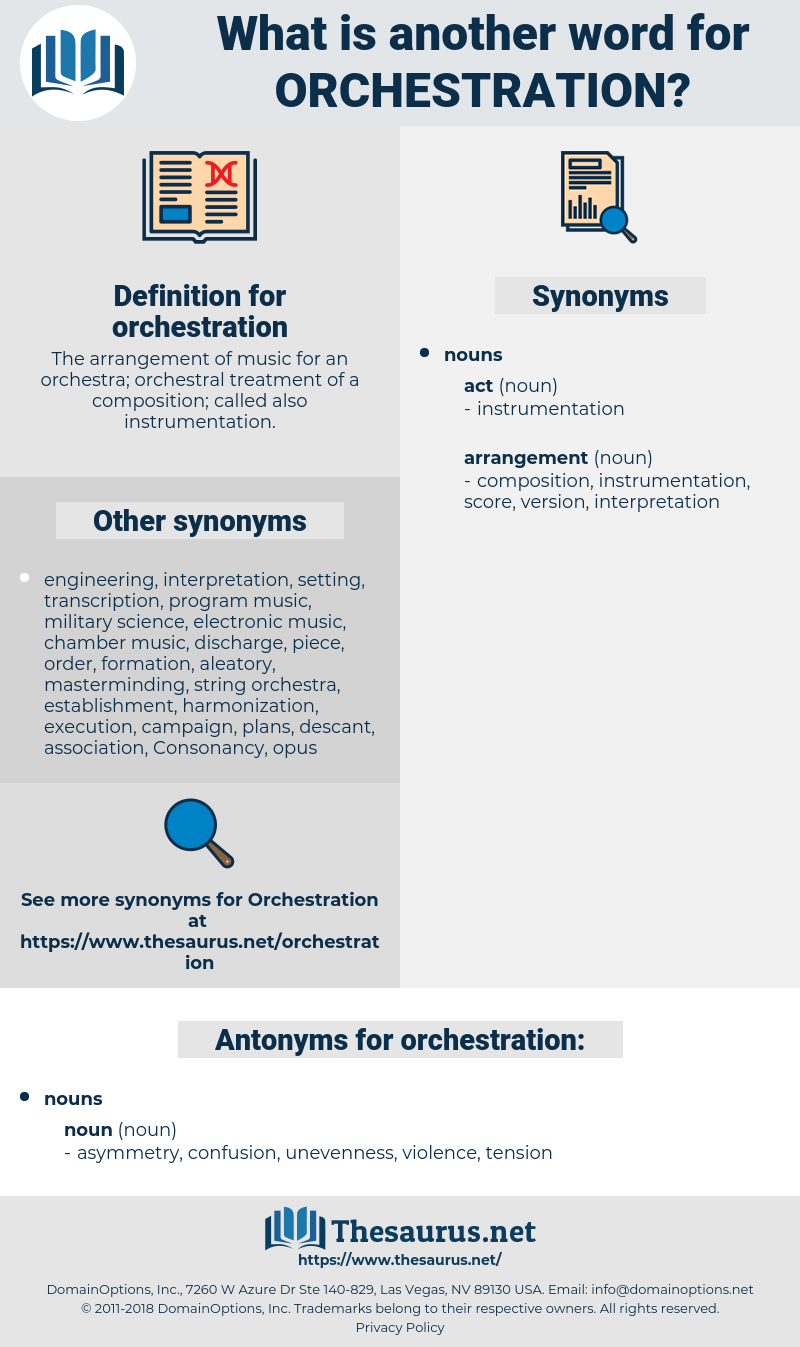 orchestration, synonym orchestration, another word for orchestration, words like orchestration, thesaurus orchestration