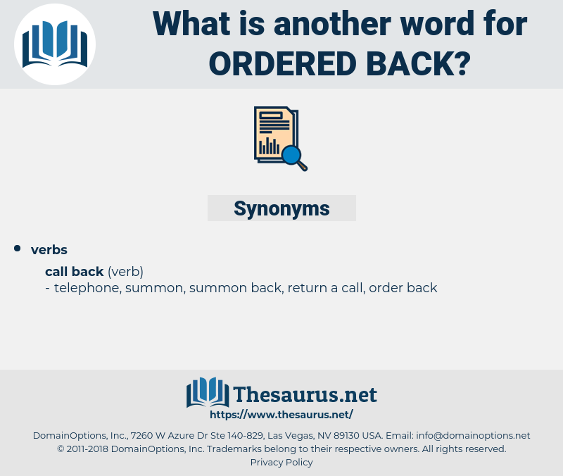 ordered back, synonym ordered back, another word for ordered back, words like ordered back, thesaurus ordered back