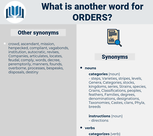 orders, synonym orders, another word for orders, words like orders, thesaurus orders