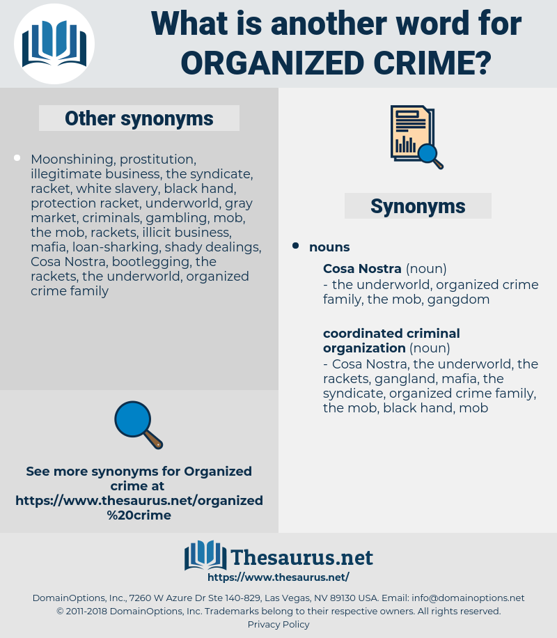 Synonyms For Organized Crime Thesaurus Net