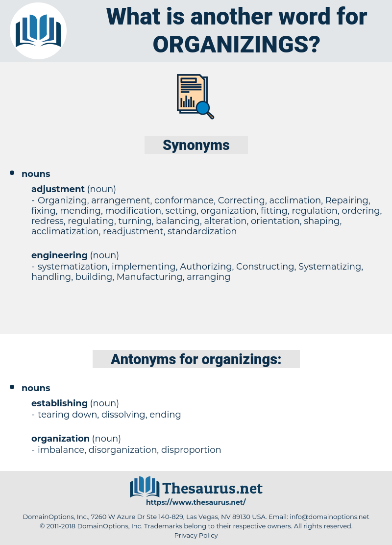 organizings, synonym organizings, another word for organizings, words like organizings, thesaurus organizings
