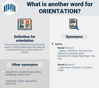 orientation, synonym orientation, another word for orientation, words like orientation, thesaurus orientation