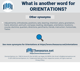 Orientations, synonym Orientations, another word for Orientations, words like Orientations, thesaurus Orientations