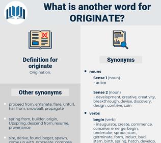 originate, synonym originate, another word for originate, words like originate, thesaurus originate