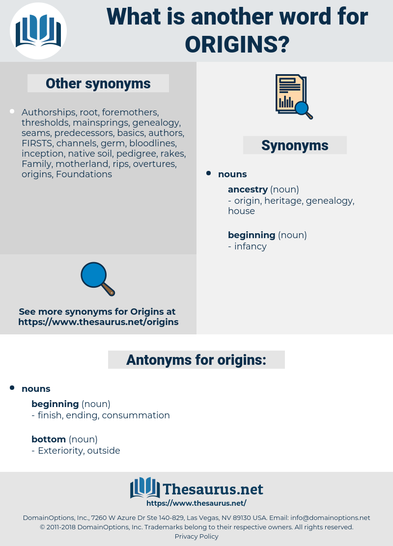 origins, synonym origins, another word for origins, words like origins, thesaurus origins