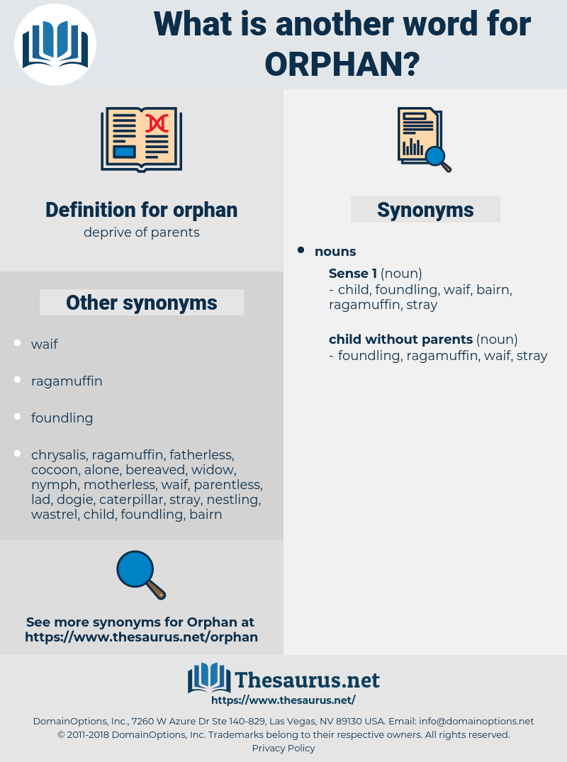 orphan, synonym orphan, another word for orphan, words like orphan, thesaurus orphan