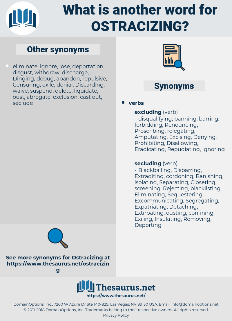 Ostracizing, synonym Ostracizing, another word for Ostracizing, words like Ostracizing, thesaurus Ostracizing