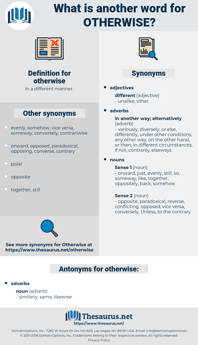 Synonyms For Otherwise Thesaurus Net