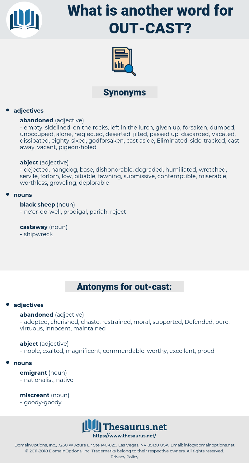 out-cast, synonym out-cast, another word for out-cast, words like out-cast, thesaurus out-cast
