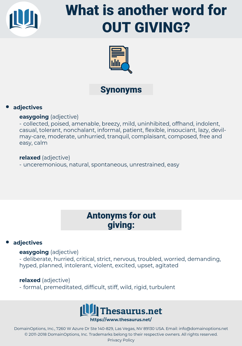 out-giving, synonym out-giving, another word for out-giving, words like out-giving, thesaurus out-giving