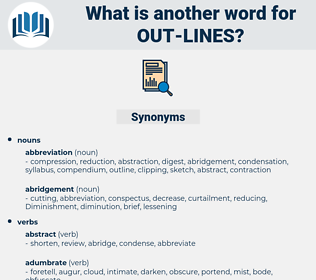 out-lines, synonym out-lines, another word for out-lines, words like out-lines, thesaurus out-lines