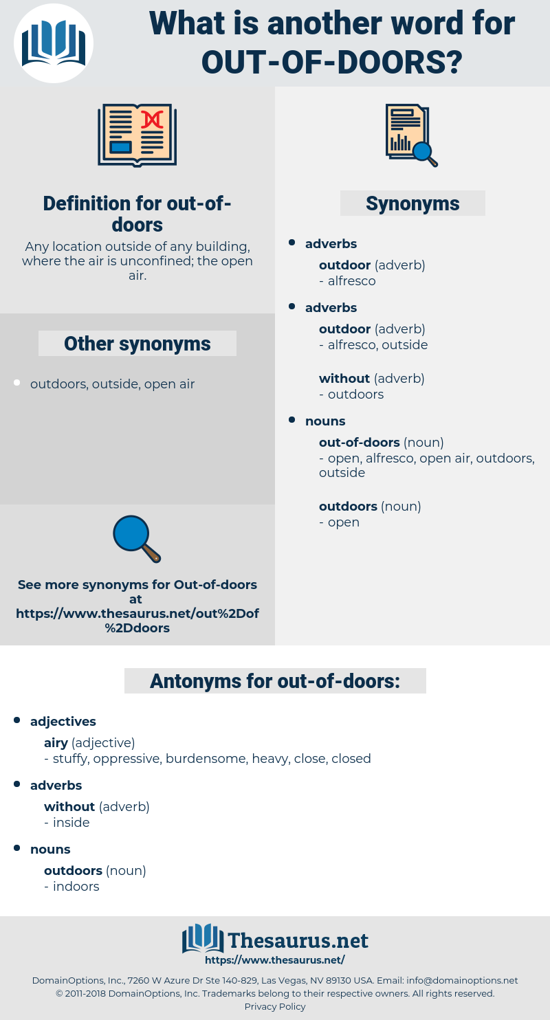out of doors, synonym out of doors, another word for out of doors, words like out of doors, thesaurus out of doors