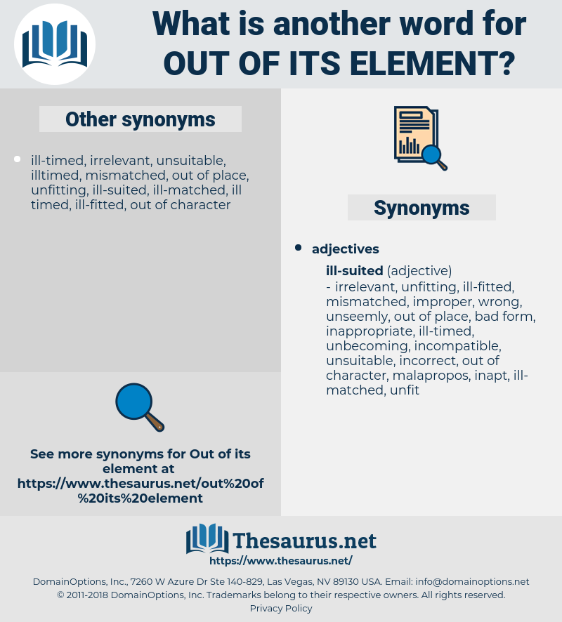 out of its element, synonym out of its element, another word for out of its element, words like out of its element, thesaurus out of its element