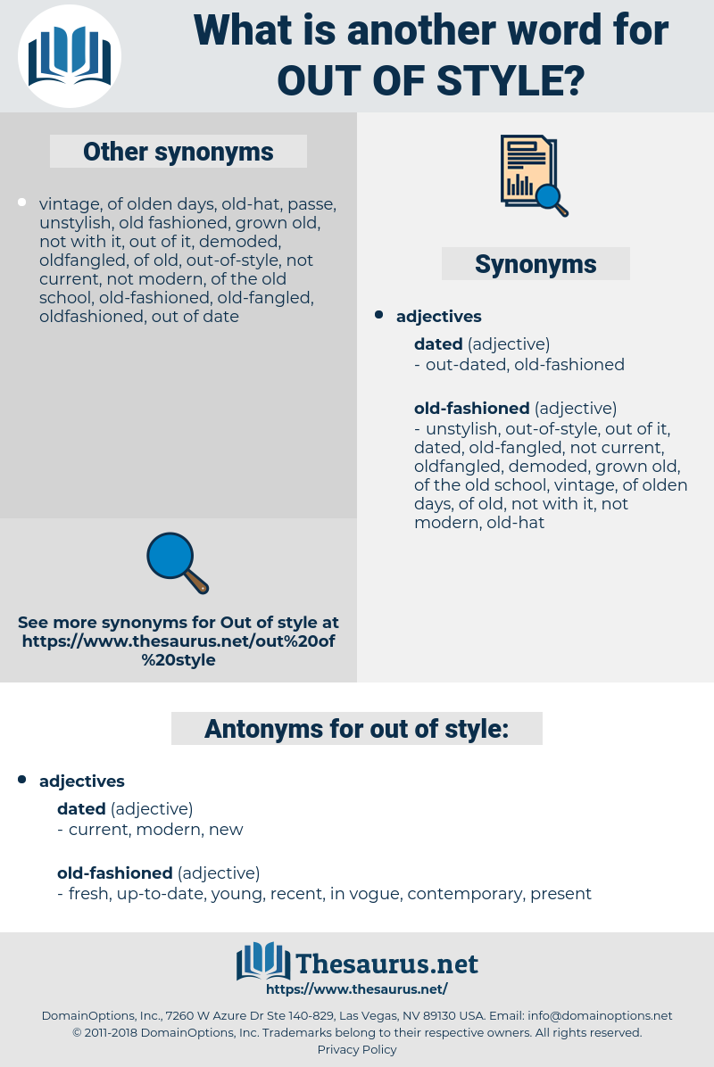 out of style, synonym out of style, another word for out of style, words like out of style, thesaurus out of style