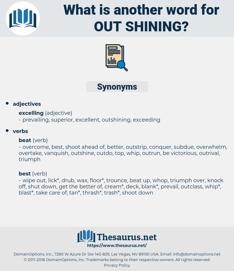 out shining, synonym out shining, another word for out shining, words like out shining, thesaurus out shining