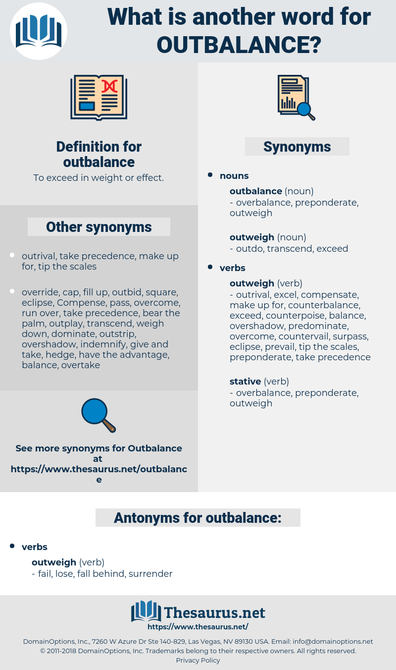 outbalance, synonym outbalance, another word for outbalance, words like outbalance, thesaurus outbalance