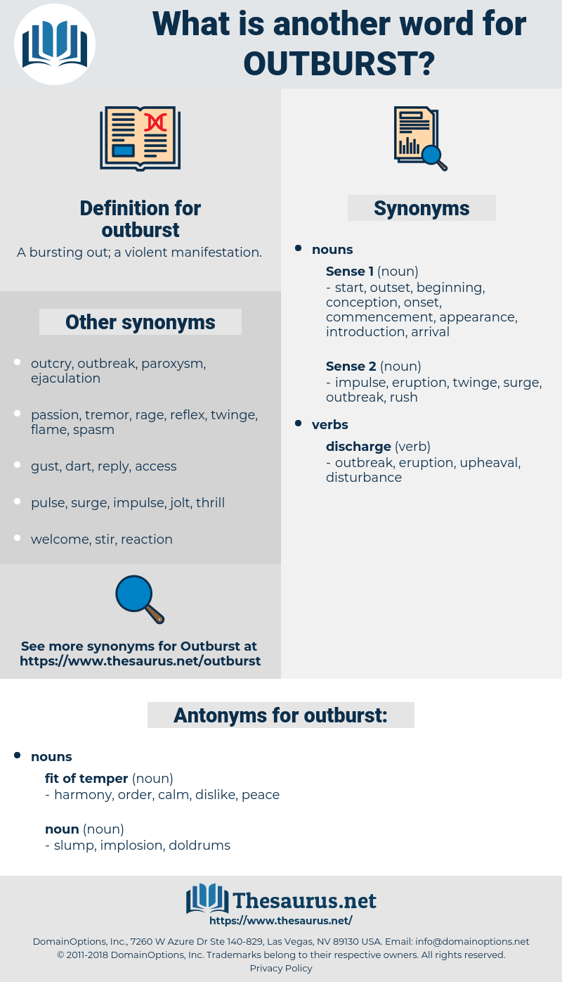 outburst, synonym outburst, another word for outburst, words like outburst, thesaurus outburst