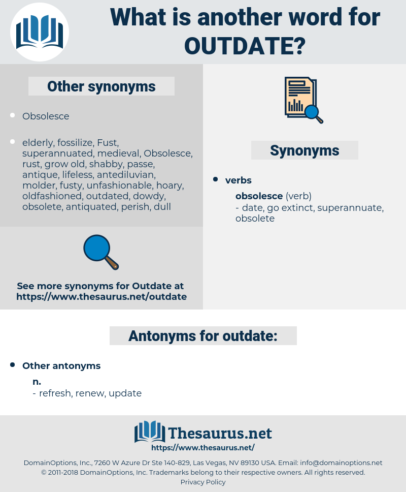 outdate, synonym outdate, another word for outdate, words like outdate, thesaurus outdate