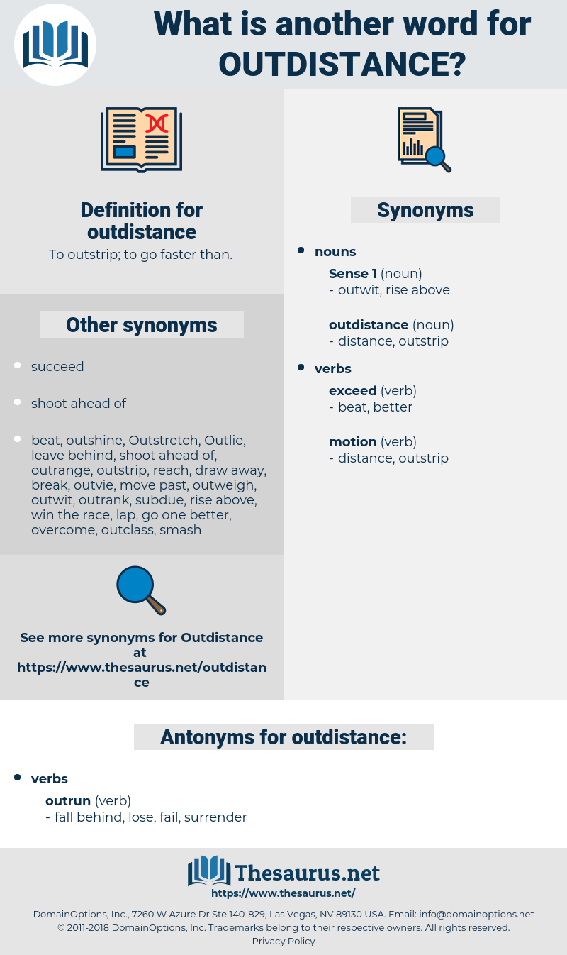 outdistance, synonym outdistance, another word for outdistance, words like outdistance, thesaurus outdistance