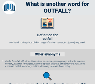 outfall, synonym outfall, another word for outfall, words like outfall, thesaurus outfall