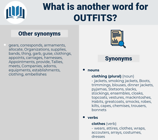 outfits, synonym outfits, another word for outfits, words like outfits, thesaurus outfits