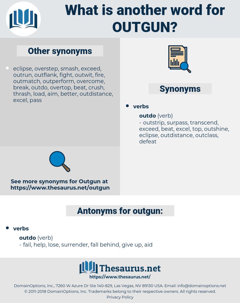 outgun, synonym outgun, another word for outgun, words like outgun, thesaurus outgun