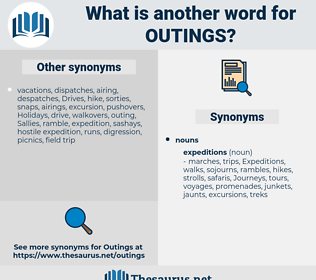 outings, synonym outings, another word for outings, words like outings, thesaurus outings