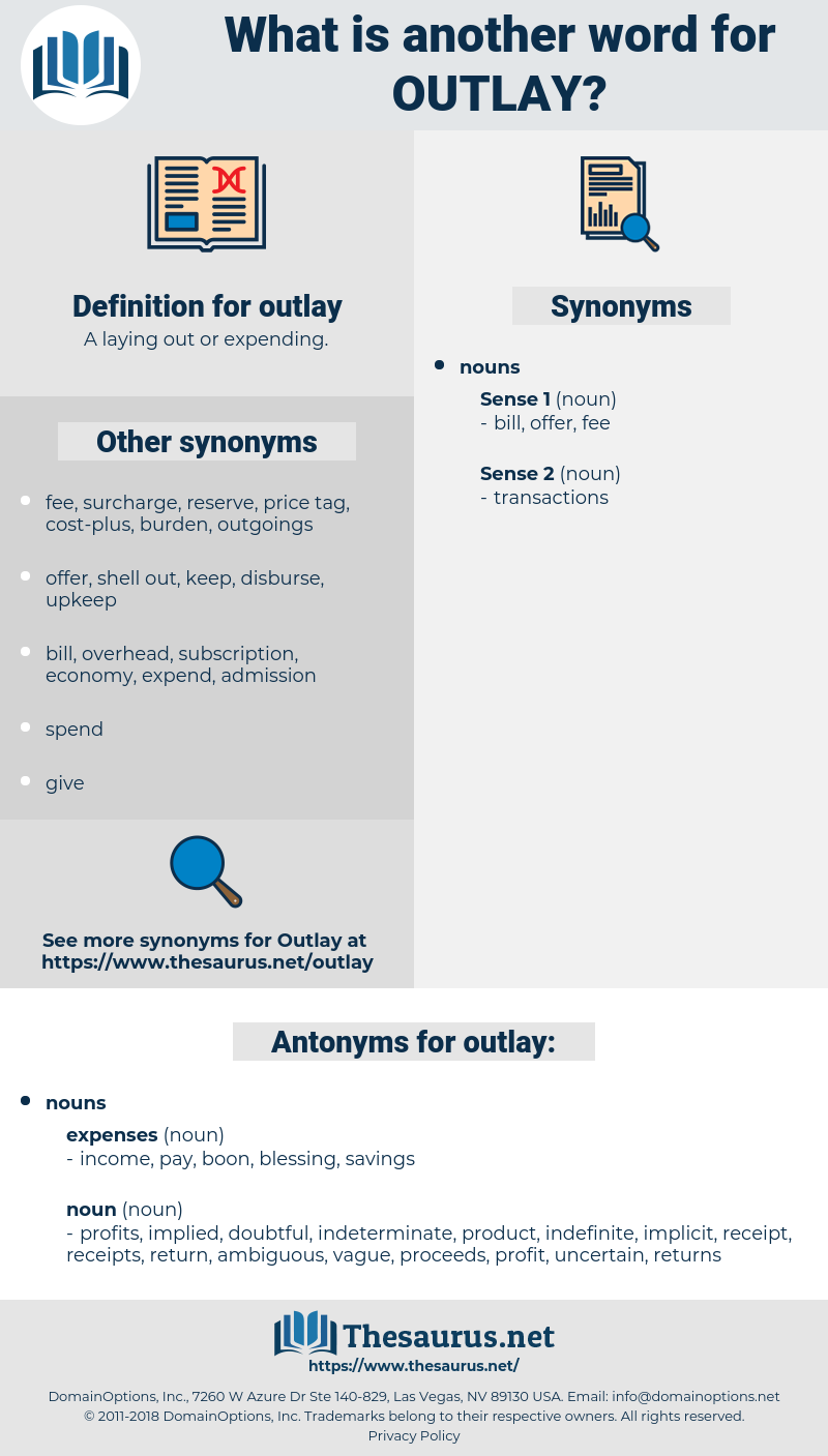 outlay, synonym outlay, another word for outlay, words like outlay, thesaurus outlay