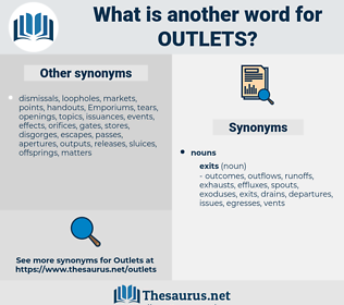 outlets, synonym outlets, another word for outlets, words like outlets, thesaurus outlets