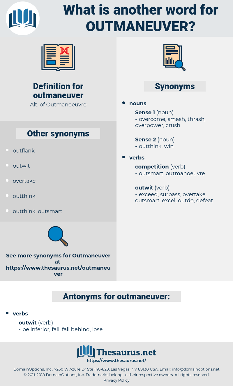 outmaneuver, synonym outmaneuver, another word for outmaneuver, words like outmaneuver, thesaurus outmaneuver