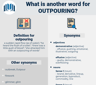 outpouring, synonym outpouring, another word for outpouring, words like outpouring, thesaurus outpouring