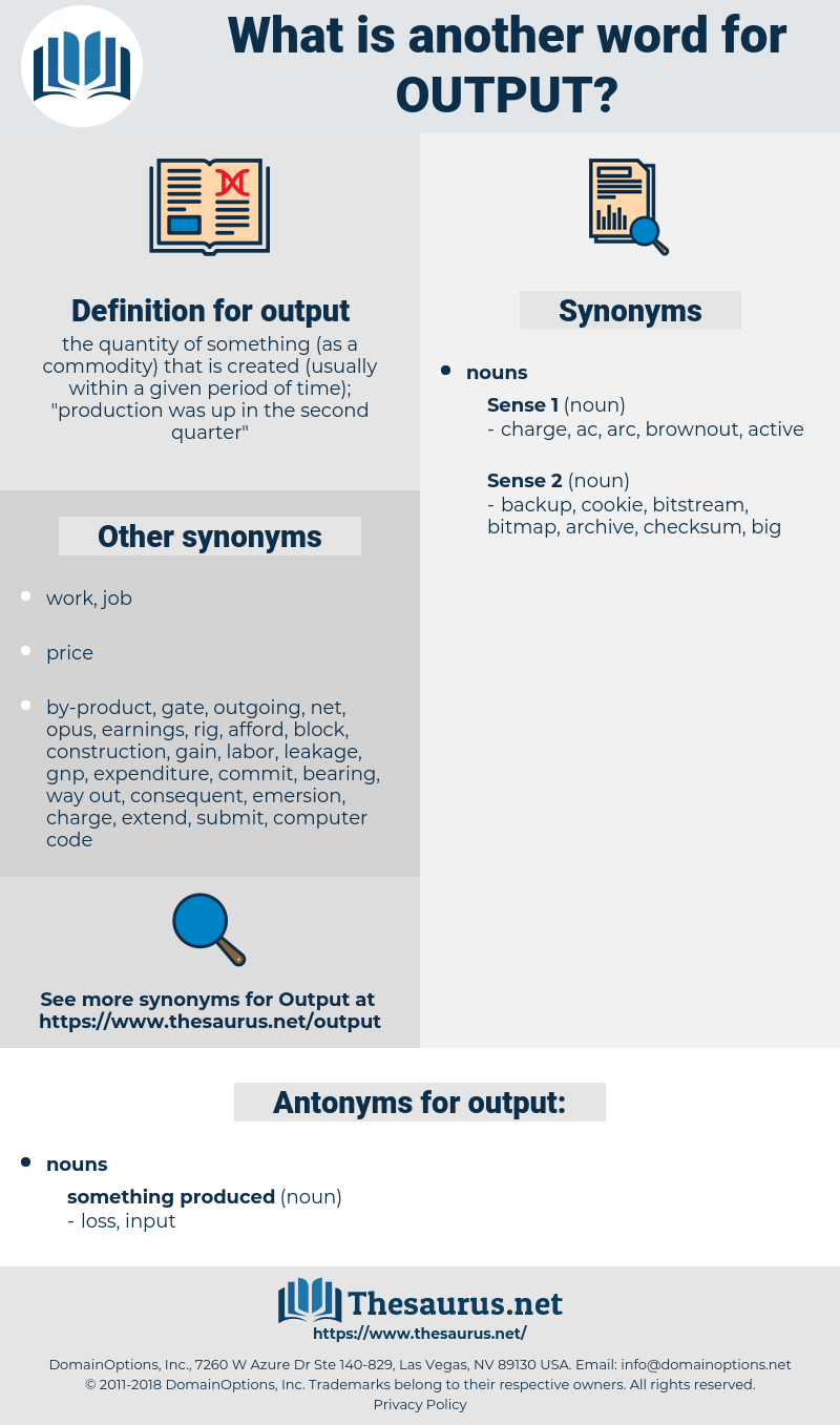 output, synonym output, another word for output, words like output, thesaurus output