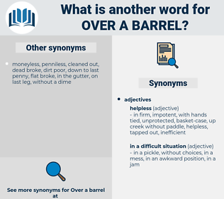 over a barrel, synonym over a barrel, another word for over a barrel, words like over a barrel, thesaurus over a barrel